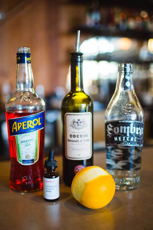 CBD Orange Mezcal Cocktail ingredients